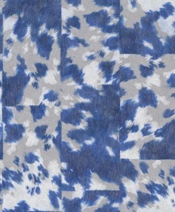 Papier Peint Rasch Imitation Peau De Vache Bleue - Jhp Deco